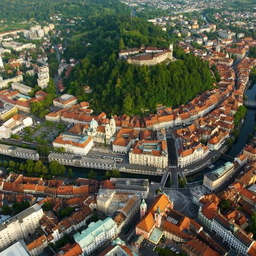 Air view of Ljubljana Castle, photo T.Jesenicnik, Tourism Ljubljana
