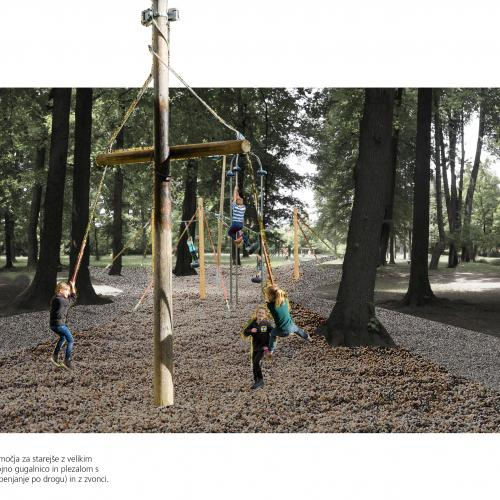 Spatial presentation of the area for older children with a big roundabout, big triple swing set and a climber with three poles and bells.