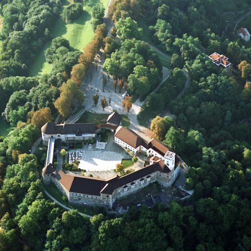 Ljubljana castle air view, photo: D. Wedam, Ljubljana Tourism