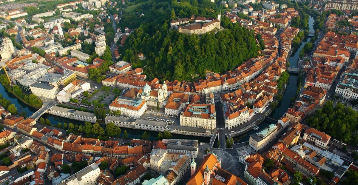 Air view of Ljubljana Castle T8.Jesenicnik